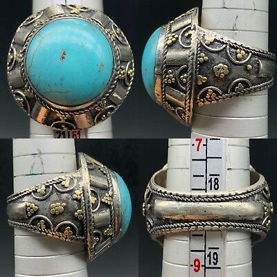 Medieval Rare Old Silver mixed lovely Turquoise Stone wonderful ring