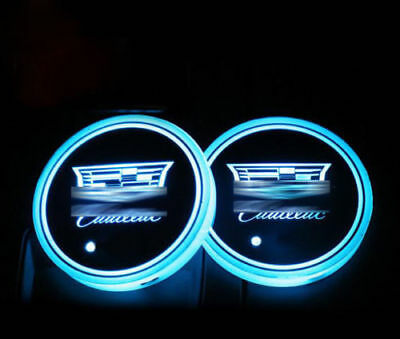 A pair LED Car Cup Holder Pad Mat for Cadillac Auto Atmosphere Lights Xmas Gift