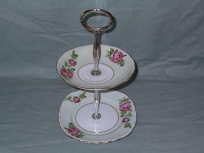 Colclough China 2-Tier Biscuit Plate Small Cakestand 1677 Pale Green Pink Roses