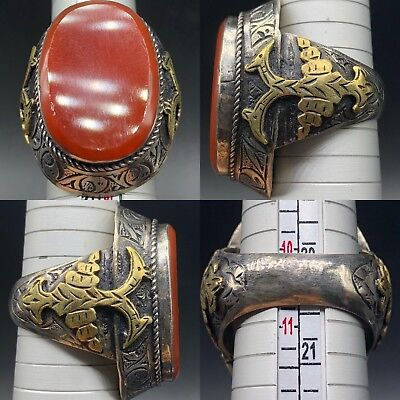 Stunning Old Agate stone lovely mixed Silver Wonderful Unique Ring