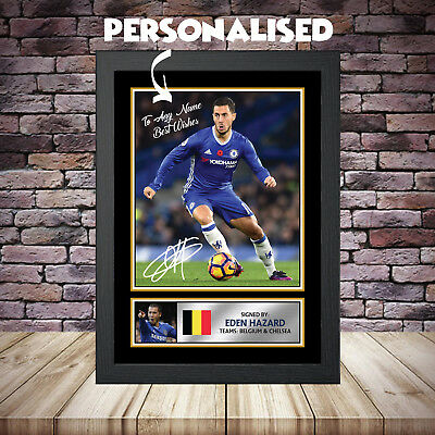 A3 A4 Signed Autograph by Eden Hazard Chelsea Signed Print Poster Gift Souvenir