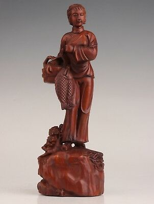 Ancient Chinese Boxwood Statue Old Belle Basket Fish Hand-Carved Collection