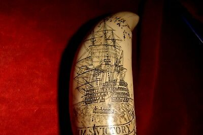 "faux scrimshaw  ""Horatio Nelson""  weighs 500 grams...Quality item retails £28 ++"