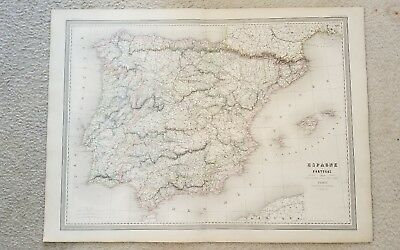 "19th Century C1860 Map Of Spain And Portugal 33""X24"" Thick Paper Hand Colored"