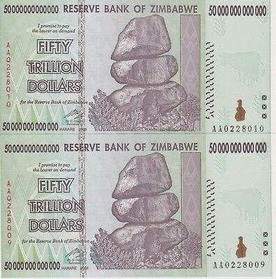 Zimbabwe 50 Trillion Dollars AA 2008 *GUARANTEED AUTHENTIC ZIM* Uncirculated
