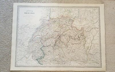 "19th Century C1861 Map France Switzerland 33""X24"" Thick Paper Hand Colored"