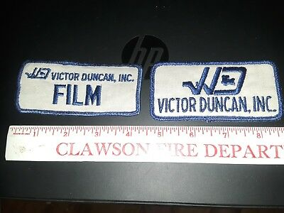 2 Vintage Victor Duncan FILM Camera Production Embroidered Patch VD