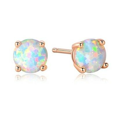 Jewelry GEMSME 18K Rose Gold Plated Opal Stud Earrings 6MM Round For Women