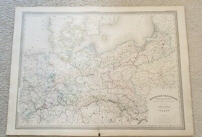 "19th Century C1863 Map Northern Europe 33""X24"" Thick Paper Hand Colored"