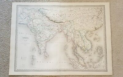 "19th Century C1860 India China Russia 33""X24"" Thick Paper Hand Colored"