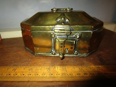 Antique Brass casket with lock and ornate hinges - great Film / TV prop