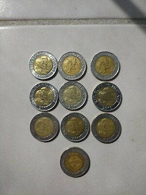 Old Philippines Coin Lot - 10- 10 Piso Bi-Metal Coins various years