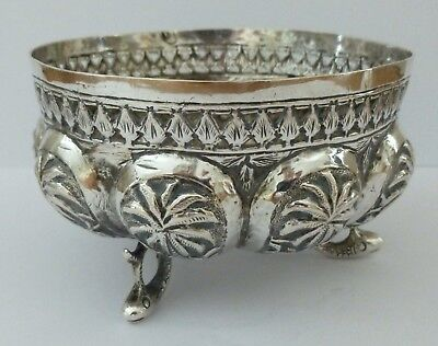 Antique Indian Solid Silver Bowl Vase Flower Pot Planter Fish Animal Palm 81g