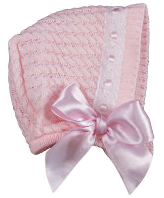 Baby Girls Knitted Bonnet Hat Bow