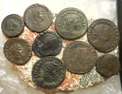 Lot of 9 VF+ Ancient Roman Coins! Largest 23 mm, Easy to ID!