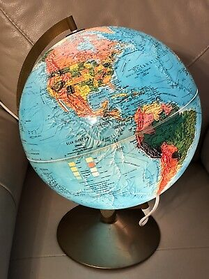 Vintage Illuminated Globe 1970s 1976 French PAT Tested Scan-Globe A/S Denmark