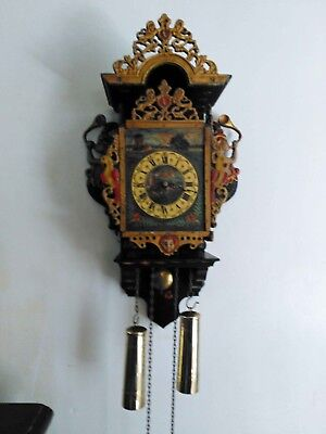 Vintage Dutch chiming wall clock - handsome and unusual barge ware - folk art