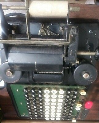 Burroughs Type 3 Adding Machine Made in Detroit, MI Powers Up-Good Condition