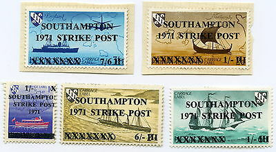 SOUTHAMPTON STRIKE POST -  5 no. stamps - 1971 - ex Herm Island overprinted.