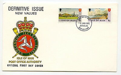 3 no. FDC'S - ISLE of MAN - Definitive Issues - NEW VALUES - Jan, May, Oct. 1975