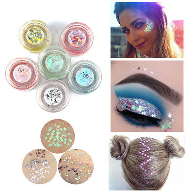 Face Body Glitter Gel Makeup Eyeshadow Facial Highlighter Hair Paint Cosmetic