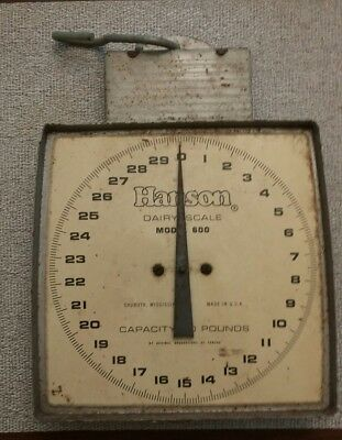 Vintage Hanson Hanging Scale w/ Hooks Model 600 Dairy Scale 60lb Capacity Box