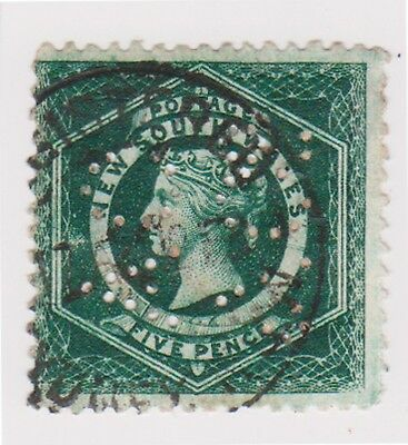 (K107-45) 1860 NSW 5d green Large diadem private perforation used(BC)