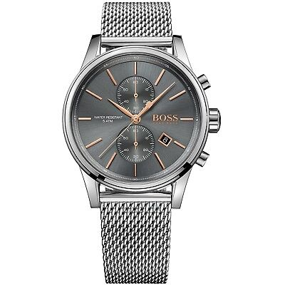 Hugo Boss Mens Jet Chronograph Watch Hb1513440 Grey Dial Metal Strap, Rrp£299.00