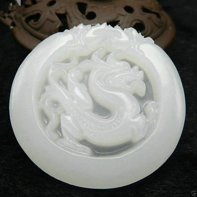 Ancient Chinese Mythical Dragon Hand-Carved Hetian White Jade Amulets Pendant