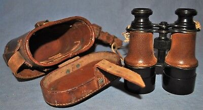 French Made Binoculars & Case ID'd to British Officer Dated 1917