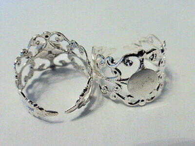 2 x Adjustable 17mm Brass Filigree Ring Blanks Shanks in Silver with 8mm Pad LF