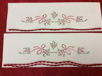 Vintage Embroidered Pillowcases - Red & Pink Flowers & Bows - Standard - Pretty!