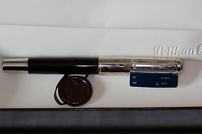 NEW Retired New Pelikan M625 STERLING SILVER And Red 14K Fine nib Fountain PEN