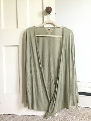 sage green•pete and greta for t•open faced•tie front•cardigan•ribbed sleeves