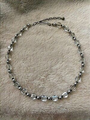 Vintage Mid-Century Sterling Silver Cut Glass/Crystal Choker Necklace *Simmons*