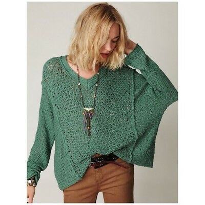 Free People oversized pullover sweater in green size small womens S boho