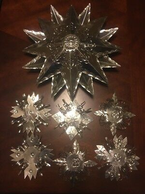 Vintage Mexican Folk Art Punched Tin Metal Star Ornaments Mobile Mexico