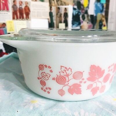 Pyrex Casserole Dish With Lid Vintage Pink Gooseberry Pattern Perfect Condition