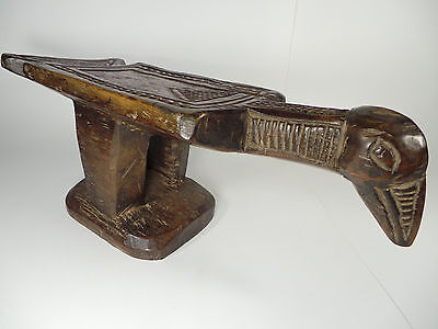 "19"" Long Hand Carved Wooden Stool Bobo Bird Burkina Faso Ivory Coast Africa 8Lbs"
