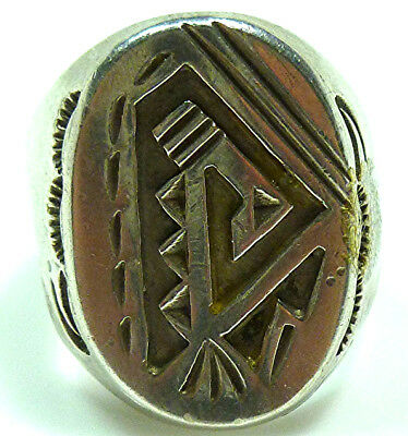 Mens Old Hopi Native American Sterling Silver Mens Oval Shield Heavy Ring Band