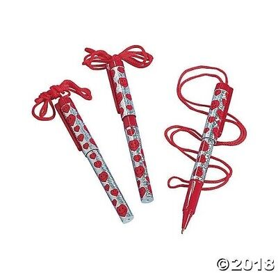 12 SHINY Prism Smile Face Heart Valentine's Day Rope Pens Gift Party Favor
