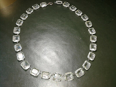 VINTAGE Sterling EMERALD CUT Crystal CHOKER NECKLACE faceted made in Germany