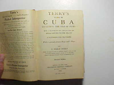 1929 TERRY'S GUIDE TO CUBA 460 pages 10 maps w/Pan Am Airlines route map VG+