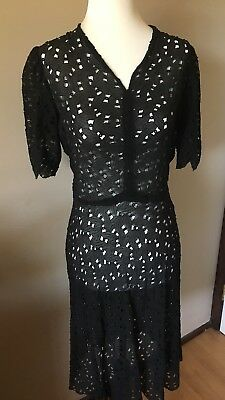 Vintage 1930s 1940s Black Eyelet Broderie Anglais Lace Dress