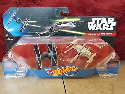 Hot Wheels Star Wars Starship 2 Pack Tie Fighter vs X-Wing Fighter Red Two