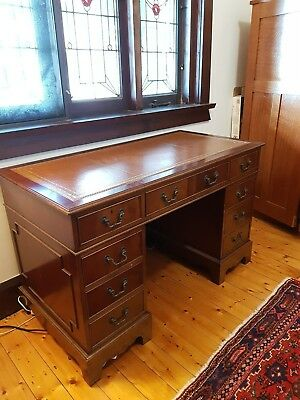 Antique Georgian-style twin / double pedestal desk, mahogany, leather, and brass