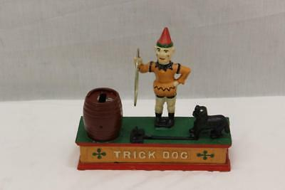 Vintage Cast Iron Trick Dog Mechanical Bank Made In Taiwan