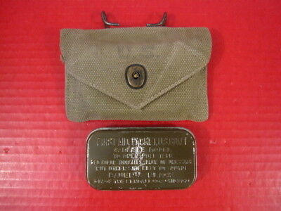 WWII US Army M1942 First Aid Kit Canvas Pouch w/Carlisle Bandage - Dated 1943 #3