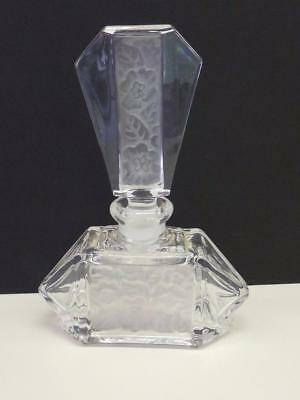 "Large Estate FK Lead Crystal Frost Flower Glass Perfume Bottle 6"" Germany"