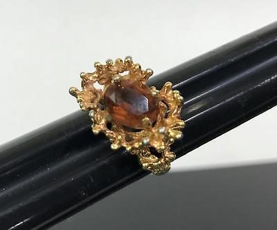 Vintage Amber Topaz Solitaire Gold Tone Brutalist Modern Costume Jewlery Ring 7